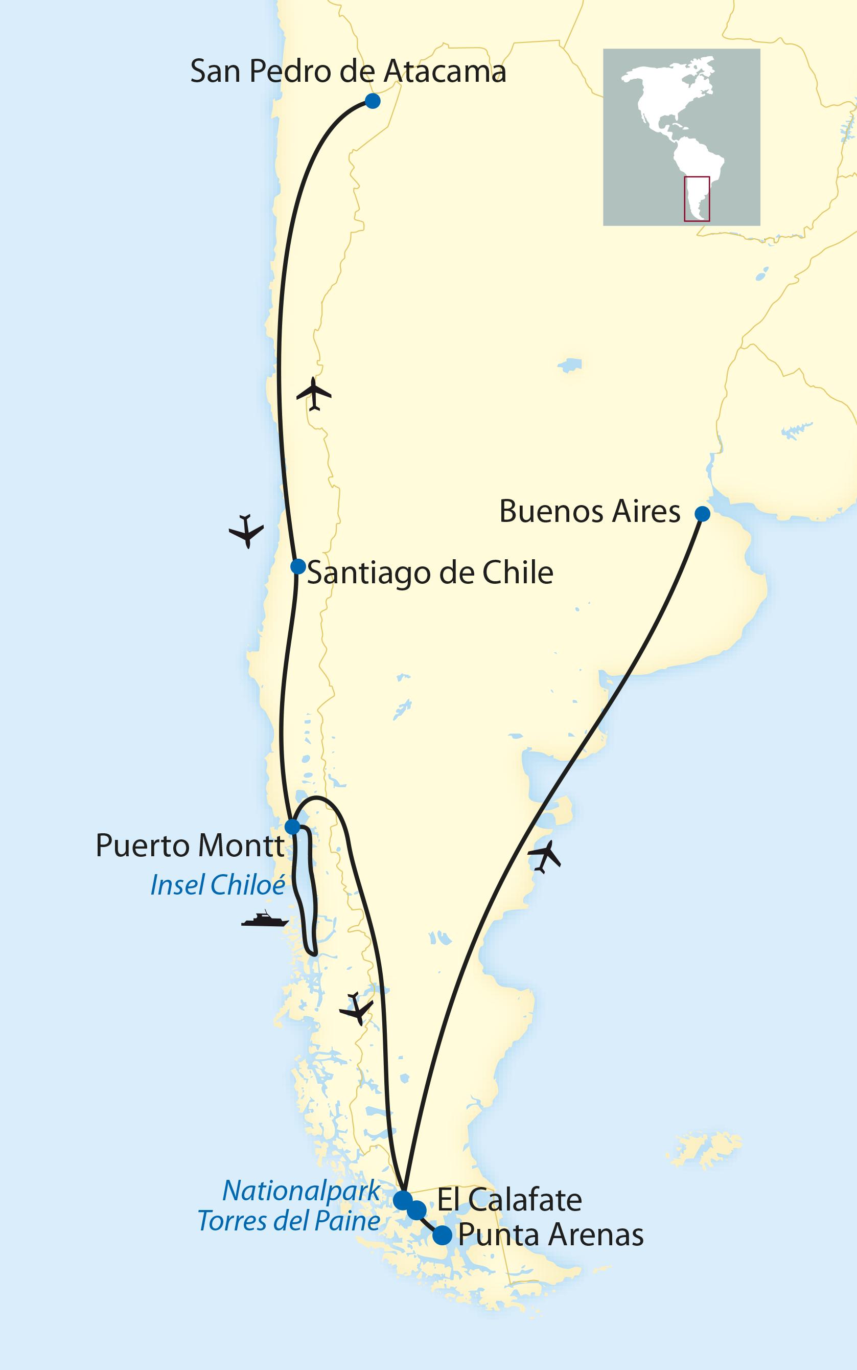 Atacama Wüste Karte.Tctt Zugreisen Atacama Wüste Und Patagonien Kreuzfahrt 2019 2020